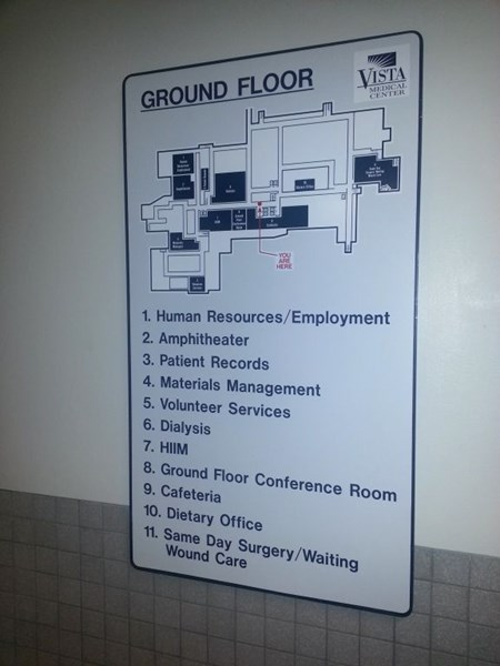Floor directory with map and you are here location indicated