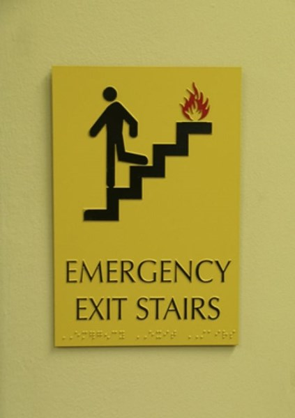 ADA Emergency Stairway Exit Sign with Braille