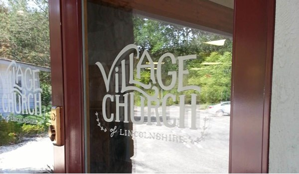 Faux etched glass logo on church doors - Linconshire, IL