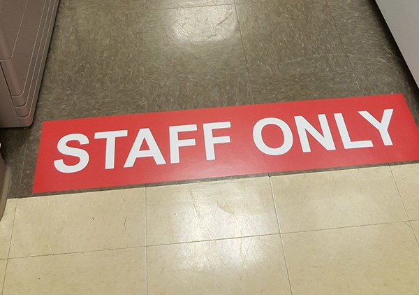 Floor graphic for safety restriction in hospital.  Lindenhurst, IL