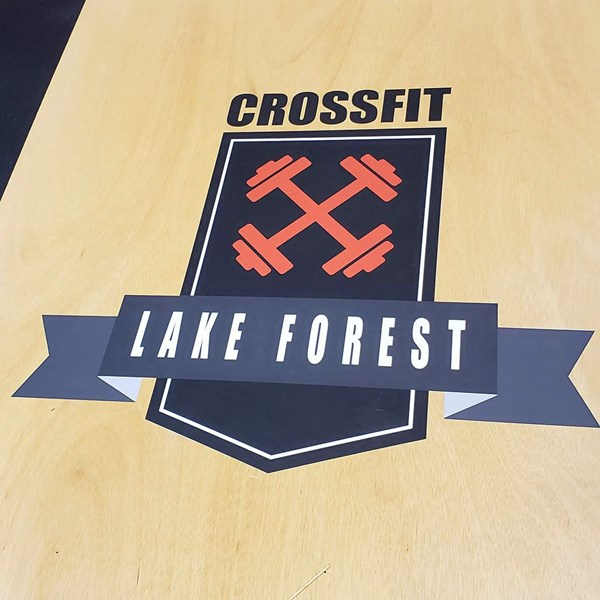 Floor Graphics  with anti-slip laminate for CrossFit gym