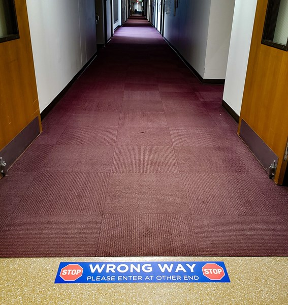 Wrong Way Floor Decal for Aisles or Hallways